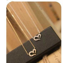 Wholesale 14k Gold Necklace Cheap - Wholesale And Retail Cheap Heart Necklace With Crystal And Zinc Alloy Fashion Women Jewelry Factory