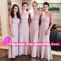 Wholesale Hot Black Woman Maid - New Arrival Sheath Lace Bridesmaid Dresses Floor Length vestidos largos Sheer Jewel Neck Ribbon Women Party Maid of Honor Gowns Hot Sale