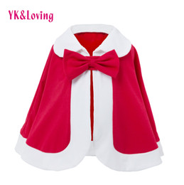 Wholesale Toddler Girls Down Coat - Girls Autumn Winter Cloak Baby Coat 2018 New Year Clothes Christmas Kids Jacket Warm Cotton Outwear Children's Cape Toddler Infant Clothing