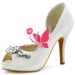 Wholesale Cheap Beige Pumps - Brand New Cheap Shoes Ivory Satin Pleated Bridal Beads Shoes Peep Toe Wedding & Party Shoes WS0120I Customise Size 33 to 43