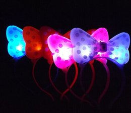 Wholesale Led Light Up Pins - 2017 New Bowknot EARS LED LIGHT UP FLASHING Christmas Butterfly Knot Hair Clip Pins Headbands Halloween Party Rave Luminous Hair Hoop Toy
