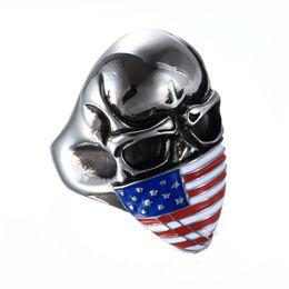 Wholesale Ring Size 22 - Men's Punk Skull Stainless Steel US Flag Mask Design Ring Avivahc 22