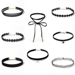 Wholesale Nice Materials - Hot Sales Women Jewelry Sets Black Choker Many Styles Layers Velvet Leather Lace Elastic Materials 8 Pieces lots Necklaces Wholesale NICE
