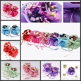 Wholesale Wholesale Satin Pouches - 100 pieces lot Double Satin Wedding Favors Bags Candy Pouch Jewely Gifts Bag Party Supplies Wholesales
