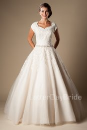 Wholesale Lace Belts Wedding - Ivory Lace Tulle Ball Gown Modest Wedding Dresses Cap Sleeves 2016 Short Sleeves Princess Bridal Gowns Beaded Belt Wedding Gowns Button Back