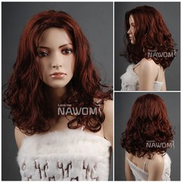 Wholesale Long Reddish Brown Hair - 2016 New European and American fashion brand reddish brown long curly hair oblique bangs wig w3432