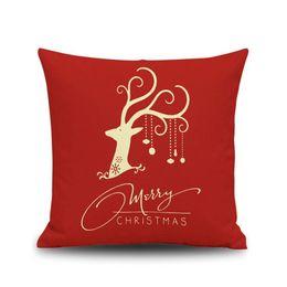 Wholesale Embroidered Linen Cushion Cover - Xmas Christmas Cotton Linen Pillow Throw Case Cushion Cover Sofa Home DÉCor Christmas Gift Pillow Covers Throw Pillows Pillow Christmas