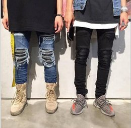 Wholesale Justin Bieber Hot - New Hot Fashion skinny slim fit mens Distressed justin bieber black cotton Denim jeans men jean