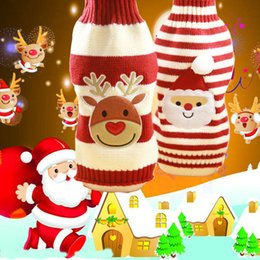 Wholesale Christmas Clothing For Dogs - 1017004 Pet Dog Clothes Colorful Christmas Santa Claus reindeer Sweater Dress Winter Warm Clothes For Pet Dog two Colors Dog-sweater-clothes