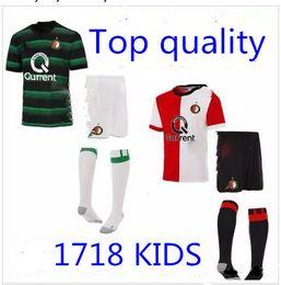 Wholesale Kids Red Football Jersey - 17 18 Feyenoord kids soccer jersey kits child jerseys kits 2017 DIKS Jorgensen Vihena Feyenoord Rotterdam football shirts