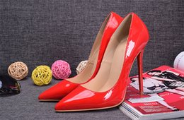 Wholesale Ladies Dress Wedges - The Red Paint Super Fine Root with Spikes Red Bottom High Heels Women Shoes 12cm High Heel Ladies Female Shoes Footwear Pumps