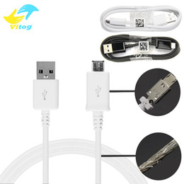 Wholesale Original Data Cable Usb - Original Quality 2A Micro USB Cable Cabo 1M Data Sync Charger Cables Metal Plug Mesh Grid Protecter Fast Charge Android for Samsung