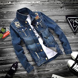 Wholesale Teenagers Casual Shirts - Fashion 2017 Spring Autumn Distressed Ripped Casual Denim Teenager jacket Men Long Sleeve Hip Hop Shirt Youth Students Thin Coat