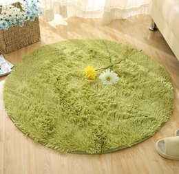 Wholesale Polyester Shaggy Carpets - Wholesale 5 Size Plush Shaggy Soft Round Carpet Non-Slip Water absorption Floor Rug Yoga Mat For Bedroom Parlor Living Room