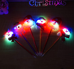 Wholesale Christmas Lights Pen Wholesale - Popular Father Christmas Ball Pen Creative Electronic Led Light Pen Christmas Stationery For Children's Gift On Christmas Day