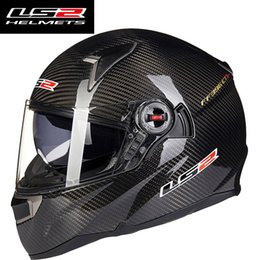 Wholesale Helmet Ls2 Dual Visor - Genuine LS2 FF396 Carbon Fiber Motorcycle Helmet Full Face racing Motorbike Helmets with Air pump dual lens visor woman and man moto helmet