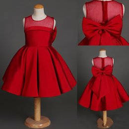 Wholesale Cheap Bow Shirts - 2017 red girls Pageant dress Jewel back Zipper Bow Sash Ball Gown Kids Formal prom Dresses Cheap First Communion Gowns