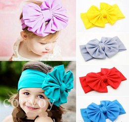 Wholesale Big Bow Hairband - New Baby Girls Bow Headbands Europe Style big wide bowknot hair band headwear 10 colors Children Hair Accessories Kids Headbands Hairband