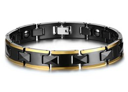 Wholesale Fashion Magnetic Therapy Bracelet - Magnetic Bracelet for Men Energy Healthy Black Ceramics Stainless Steel Chain Fashion Jewelry 10mm Therapy Balance and Energy Bracelet B874S
