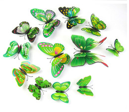 Wholesale Green Glass Art - Free shipping, Simulation of double butterfly wall stickers, fridge magnets, wedding decoration home decoration, holiday decorations