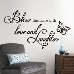Wholesale Bless Home Wall Quote - Fashion DIY Wall Sticker Quotes Decals Bless Home with Love and Laughter Saying Quote Butterfly Wall Decals Words Letters Wallpaper