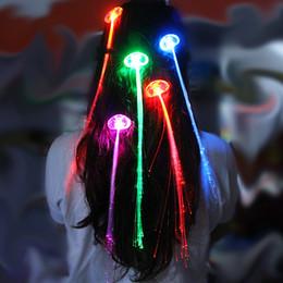 führte haare zöpfe Rabatt Leuchten LED Haarverlängerung Flash Toys Braid Party mädchen Haar Glow von fiber optic Für Party Weihnachten Halloween Nacht Lichter Dekoration B