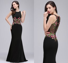 Wholesale Mermaid Prom Dresses Online - 2018 New Real Photo Black Mermaid Formal Evening Dresses with Embroidery Appliques Jewel Neck Illusion Waist Back Prom Dresses Online CPS716