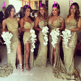 Wholesale Purple Sequins High Slit Dresses - 2016 Gold Sequin Sparkly Bridesmaid Dress High Quality 5 Styles Side Slit Formal Long Maid of Honor Dress Wedding Party Gown