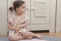Wholesale Summer Soft Dress - Baby T-shirt summer new baby girls lace falbala dress shirt INS kids cotton linen princess tops children soft T-shirt A9935