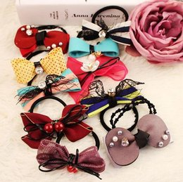 Wholesale Cheap Gift Bows - cheap grils bow Hair Rubber Bands hair jewelry head bands wholesales Diamond bow hair ring hair rope