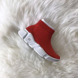 Wholesale Knitted Soft - kids Running Shoes Fashion kids High-top Sneakers Luxury Sock Shoes Stretch Knit Jogging Speed High Slip on Sneakers soft bottom