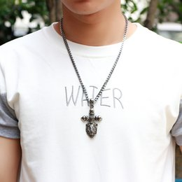 Wholesale Head Jewerly - 2016 new fashion jewelry Cross Skull pendant male lion head men's necklace stall selling goods for men Vintage Necklace Jewerly