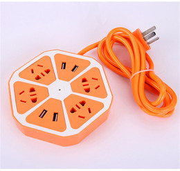 Wholesale Multifunction Docking - New Wire USB Charger Plug 6 In 1 Multifunction Lemon Outlet Socket Strip Charger Station For Iphone Samsung Ipad DHL OTH215
