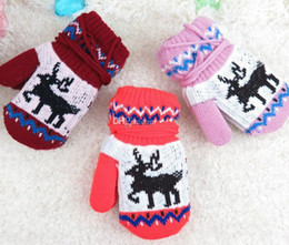 Wholesale Mitten Gloves Baby - Children's Christmas Winter Mittens Kids Baby Gloves Boys Girls Knitted Mittens Gloves Crochet Warm Mittens 6styles