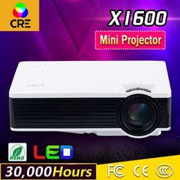 Dlp proiettore marche online-Wholesale- 2016 marca CRE Nuovo X1600 mini proiettore Home Theater Video LCD TV Cinema pico HDMI portatile Full HD 1080P LED Proyector Beamer