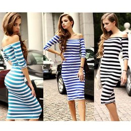Wholesale Dresses Girl Autum - Women Autum Casual Dress Long Sleeve Striped Maxi Dress Sexy Nightclub Tight Skirt Girls Colorful Strip Skirt Female Blouse Sundress