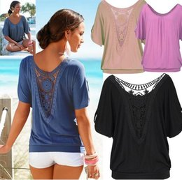 Wholesale Sexy Bat Sleeve - 2016 sexy women tops blouses cotton blend crew neck bat sleeve back lace panelled solid color women tops blouses shirts