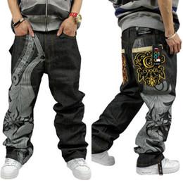 Wholesale Black Denim Print Legging - New summer autumn Men's Cotton Pants Graffiti embroidery Cool wide leg Hip Hop Jeans Denim Casual Pants Toursers 32-44