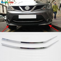 Wholesale Trim Chromed - For Nissan Qashqai 2014 2015 2016 ABS Chromed Front Bumper Foglight Eyelid Chafing Strip Cover Trim Auto Parts Accessories 2pcs