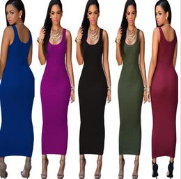 Wholesale Wholesale Bodycon - 2016 Summer Sexy Square Neck pencil Dress Ladies Long A line Bodycon backless women Casual Dress street dresses