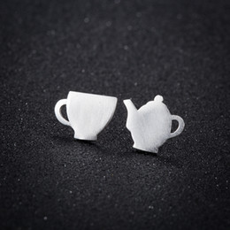 Wholesale Matte Earrings - SMJEL New Arrival Matte Tea pot and Tea cup Stud Earrings for Women Daily Cosplay Durable Cup Earring Birthday Gift for Her ed205