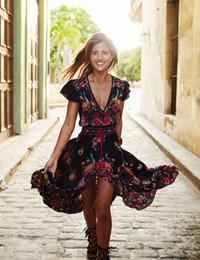 Wholesale Hippie Long Dresses Women - Summer Women Bohemia Dresses Vintage Deep V-neck Floral Print Long Beach Dress Vestidos De Festa Fashion Big Plus Size Hippie Dresses