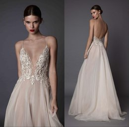 Wholesale Color Embroidered Wedding Dresses - 2018 Sexy Wedding Dresses Deep V Neck Spaghetti Straps Embroidered Tulle Backless Illusion Long Proms Evenings Dresses
