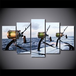 Wholesale Sea Canvas Wall - HD Printed 5 Pieces canvas Fishing rod at sea painting Wall Art Canvas Pictures For Living Room Bedroom Modular CU-1389A