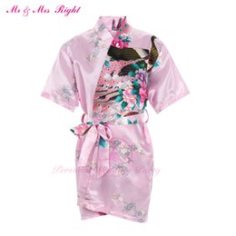 Wholesale Kid S Bathrobes - Wholesale- New Summer Kid Robe Satin Prom Gown Flower Girl Bathrobe Kimono Party Clothes Child Pajamas Bath Outfits