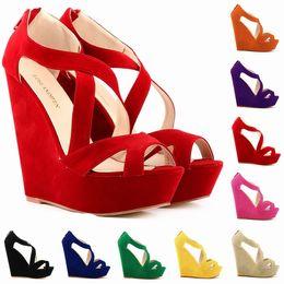 Wholesale Black Faux Suede Platform Pumps - Chaussure Femme Fashion Women Cut Out Faux Suede Platform Pumps Peep Toe High Heels Wedge Shoes Sandals Size 35-42 D0083