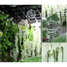 Wholesale Glass Hydroponic Pots - Fashion Design Transparent Ball Hanging Glass Flower Plant Vase Hydroponic Container Pot Home Office Decoration 2 Holes