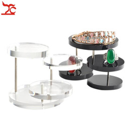 Wholesale Clear Acrylic Necklace Display - Brand New 3 Layer Clear Black Round Acrylic Jewelry Display Stand Button Necklace Earring Ring Organizer Holder Show Rack Shelf