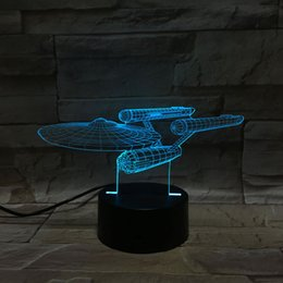 Wholesale Touch Control Night Light - Star Trek warship 3D stereoscopic illusion Acrylic Panel LED night Lights 7 Colors change desk lamp creative gift + remote control