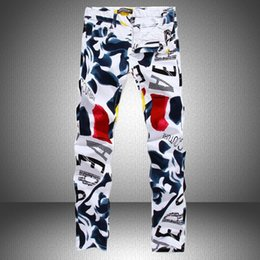Wholesale Painted Jeans - new Famous Brand man casual pants hot top Mens sweatpants joggers Pants fashion 3D Painted Jeans for male White Skinny cotton trousers